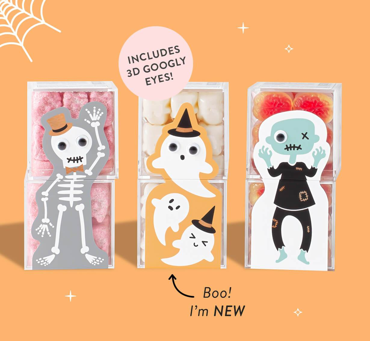 One Day Offer: Buy 3 Get the 4th Free Candy Cubes. Use code: SPOOKYTREAT at checkout. Picture of Sugarfina Halloween Collection including Gummy Ghosts, Zombie Brains, and Sugar Skulls