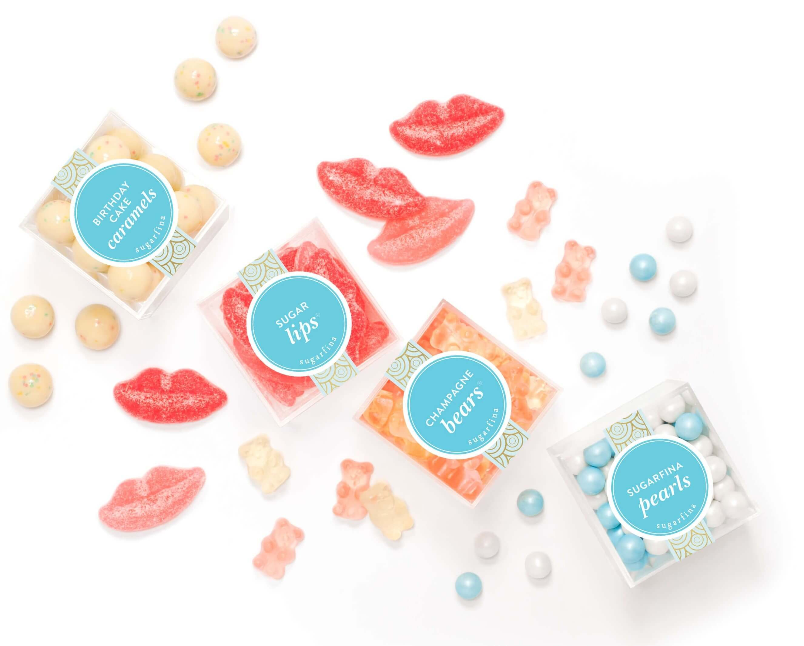 Bestselling Sugarfina Candies: Birthday Cake Caramels, Sugar Lips, Champagne Bears, and Sugarfina Pearls